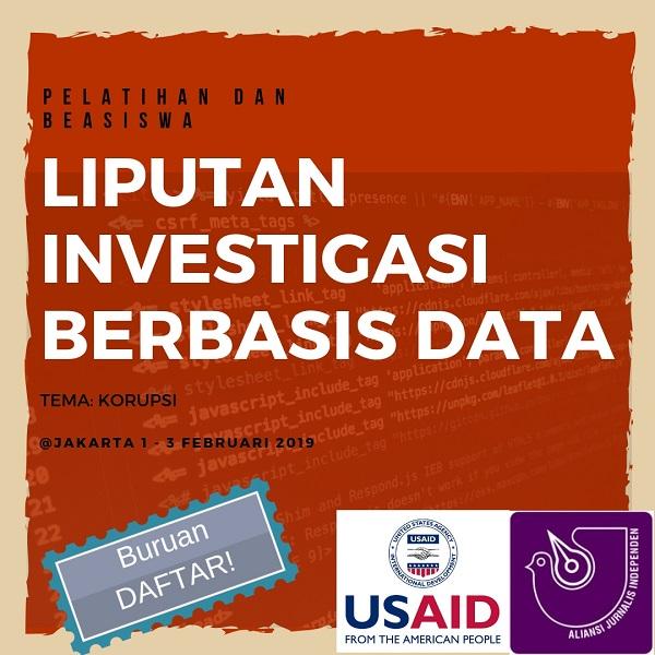 Pelatihan dan Beasiswa Liputan Investigasi Berbasis Data isu Korupsi
