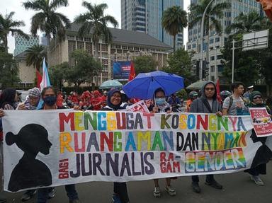 AJI Jakarta saat demontrasi Hari Perempuan Internasional, Minggu 8 Maret 2020.