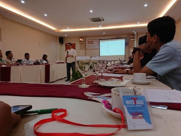 Workshp jurnalis untuk program Investigasi Bersama Tempo digagas Tempo Institute menggandeng AJI Mataram, Sabtu (27/4).