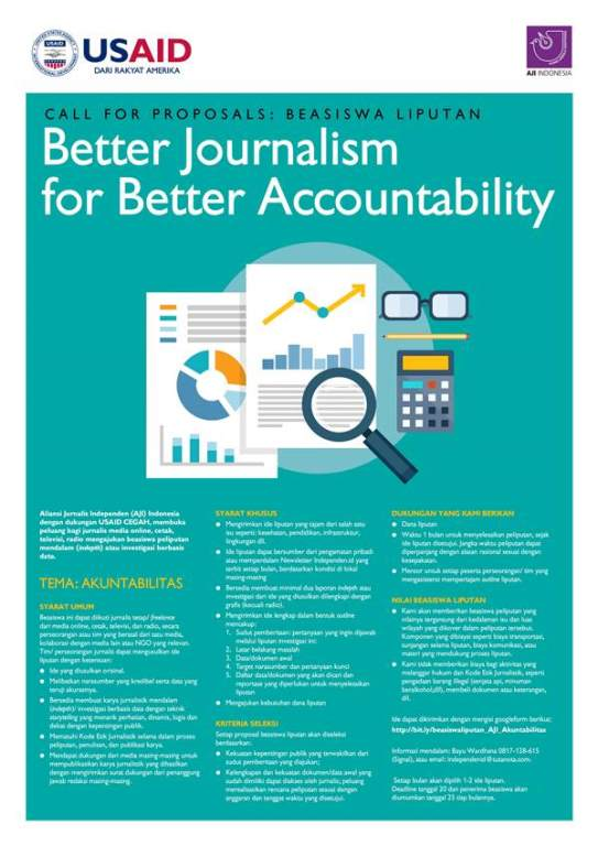 "Call for Proposals Beasiswa Liputan ""Better Journalism for Better Accountability"""
